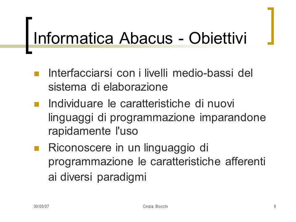 30/05/07Cinzia Bocchi9 Informatica Abacus - Obiettivi Interfacciarsi con i livelli medio-bassi del sistema di elaborazione Individuare le caratteristiche di nuovi linguaggi di programmazione imparandone rapidamente l uso Riconoscere in un linguaggio di programmazione le caratteristiche afferenti ai diversi paradigmi
