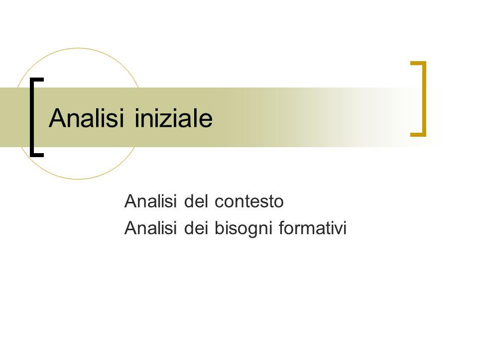 Analisi iniziale Analisi del contesto Analisi dei bisogni formativi