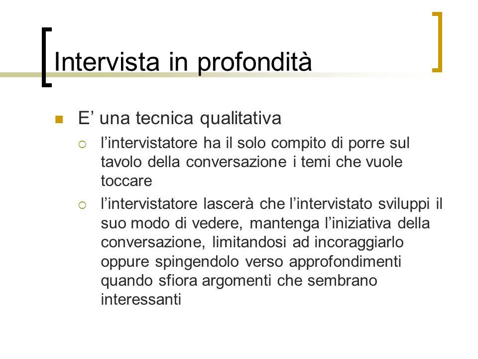 Intervista in profondità E una tecnica qualitativa lintervistatore ha il solo compito di porre sul tavolo della conversazione i temi che vuole toccare