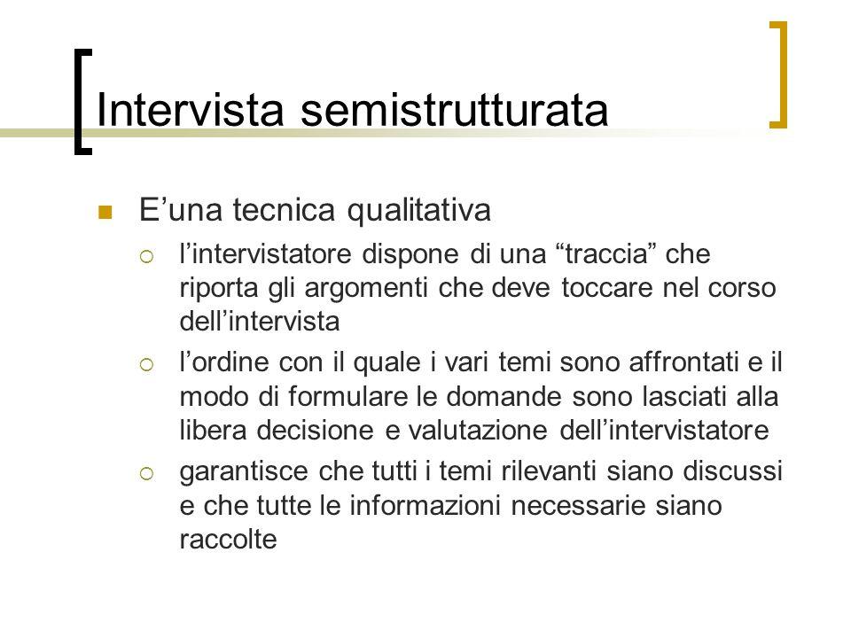 Intervista semistrutturata Euna tecnica qualitativa lintervistatore dispone di una traccia che riporta gli argomenti che deve toccare nel corso dellin