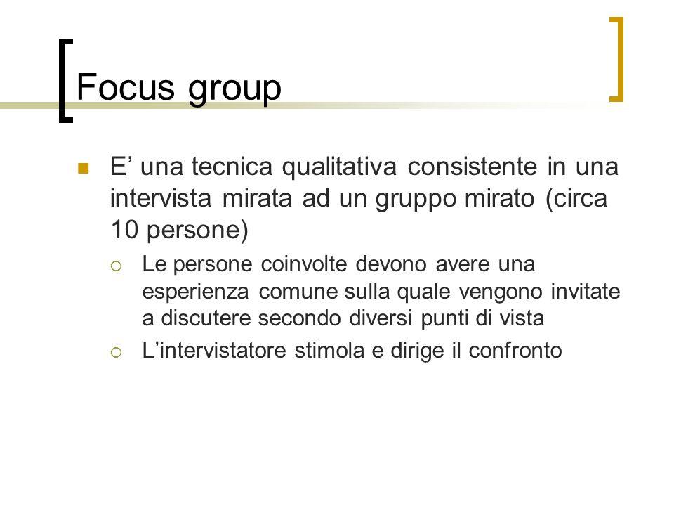 Focus group E una tecnica qualitativa consistente in una intervista mirata ad un gruppo mirato (circa 10 persone) Le persone coinvolte devono avere un