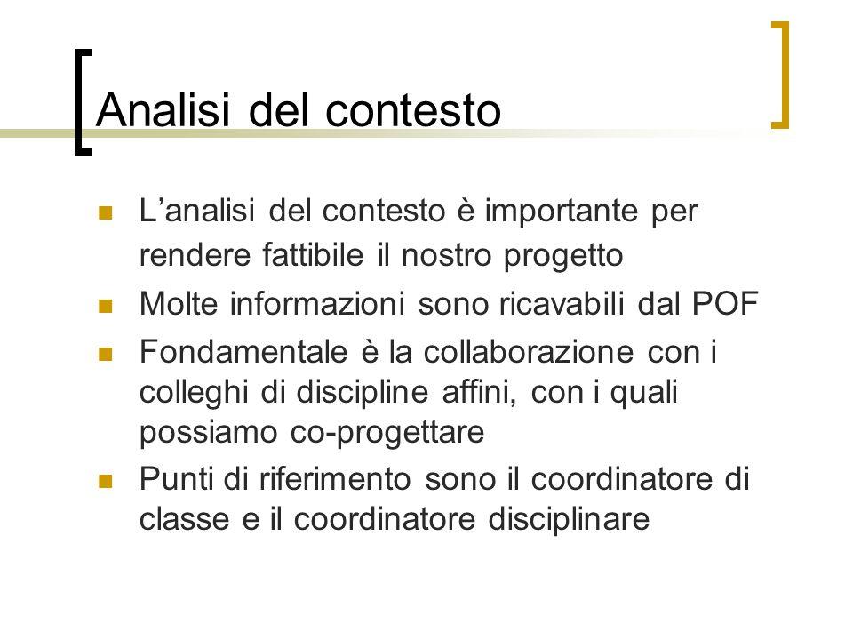 Analisi del contesto Lanalisi del contesto è importante per rendere fattibile il nostro progetto Molte informazioni sono ricavabili dal POF Fondamenta