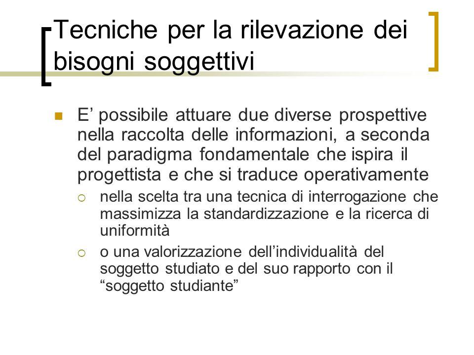 Tecniche per la rilevazione dei bisogni soggettivi E possibile attuare due diverse prospettive nella raccolta delle informazioni, a seconda del paradi