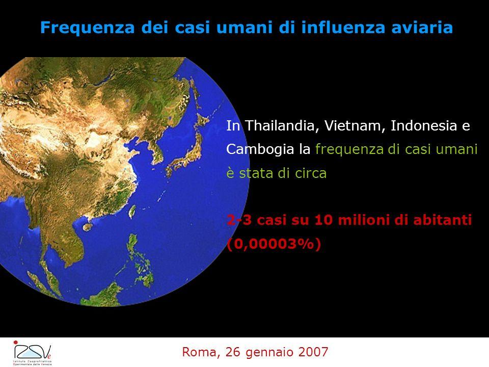 In Thailandia, Vietnam, Indonesia e Cambogia la frequenza di casi umani è stata di circa 2-3 casi su 10 milioni di abitanti (0,00003%) Frequenza dei c