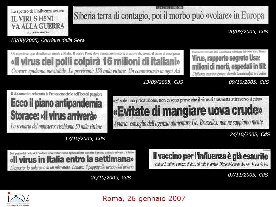18/08/2005, Corriere della Sera 20/08/2005, CdS 13/09/2005, CdS09/10/2005, CdS 17/10/2005, CdS 24/10/2005, CdS 26/10/2005, CdS 07/11/2005, CdS Roma, 2