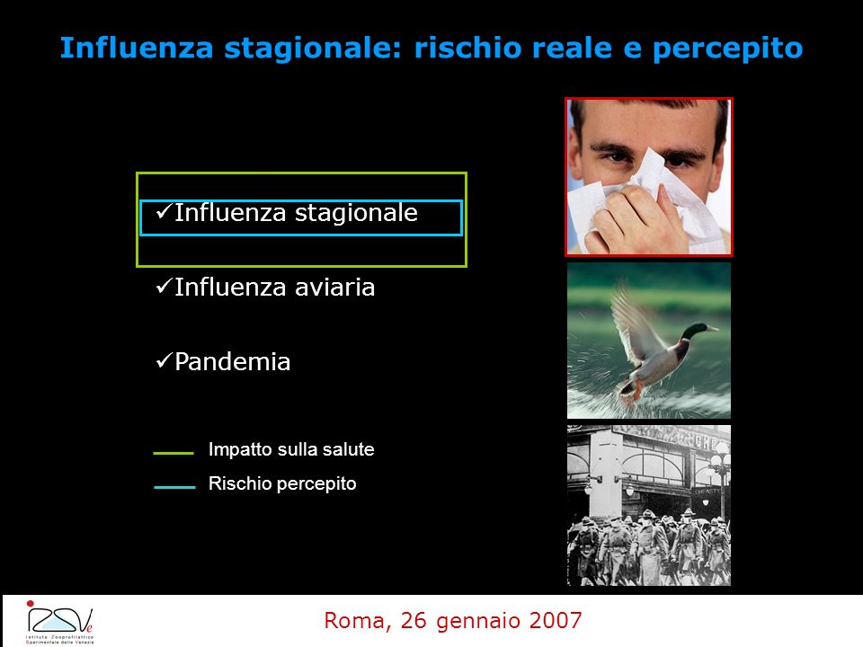 Influenza stagionale Influenza aviaria Pandemia Impatto sulla salute Rischio percepito Influenza stagionale: rischio reale e percepito Roma, 26 gennai