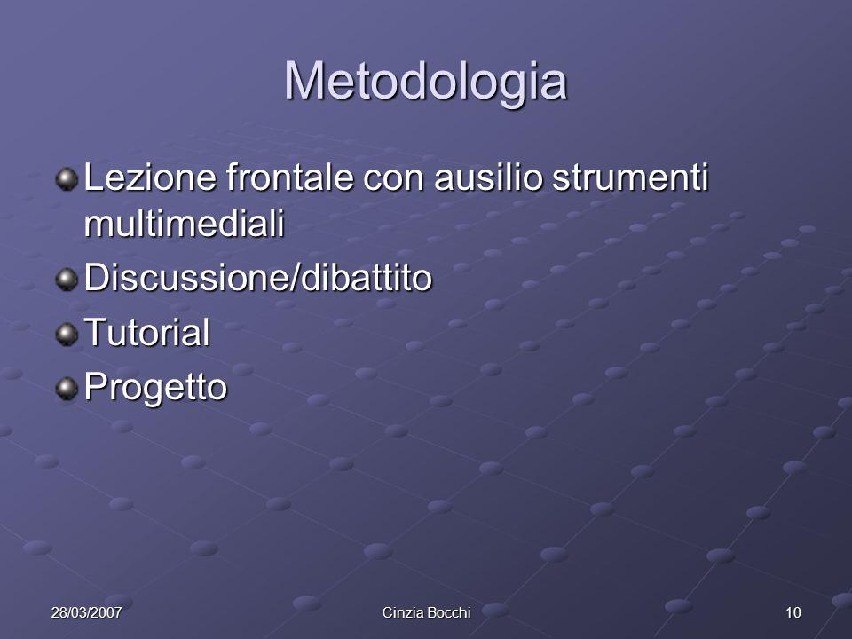1028/03/2007Cinzia Bocchi Metodologia Lezione frontale con ausilio strumenti multimediali Discussione/dibattitoTutorialProgetto