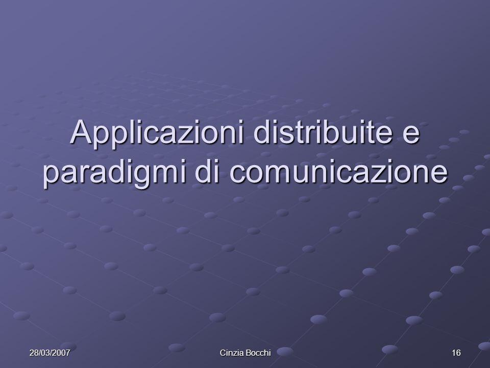 28/03/2007 Cinzia Bocchi 16 Applicazioni distribuite e paradigmi di comunicazione