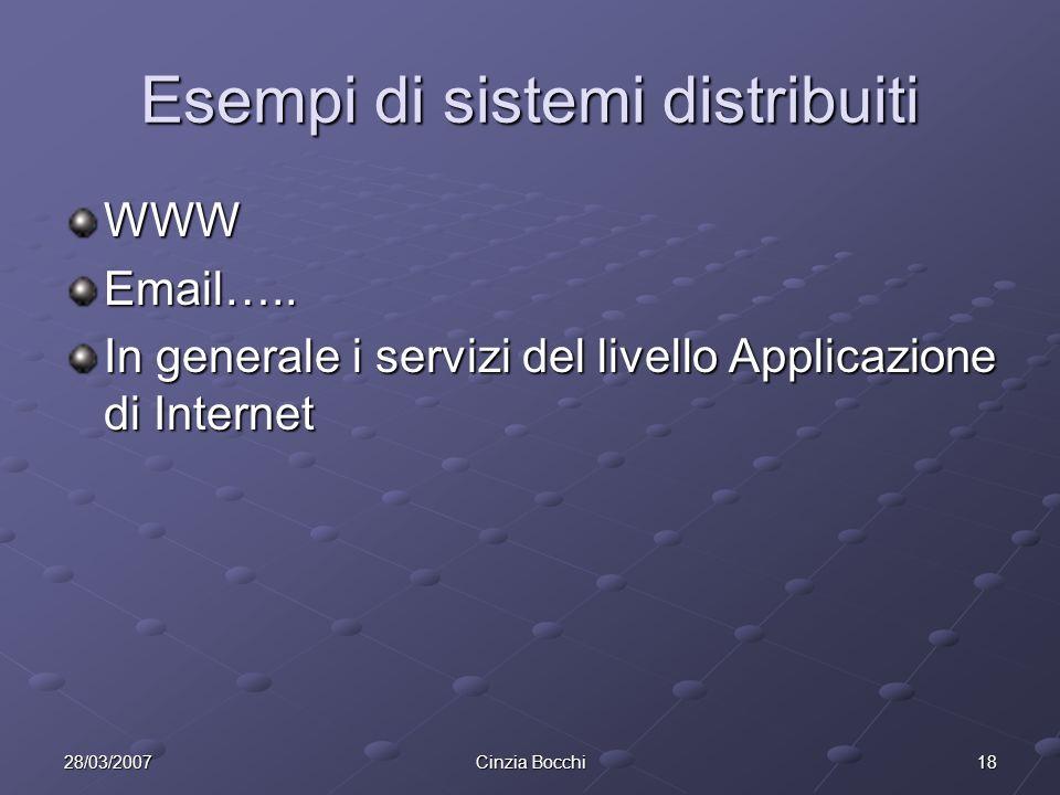 1828/03/2007Cinzia Bocchi Esempi di sistemi distribuiti WWWEmail…..