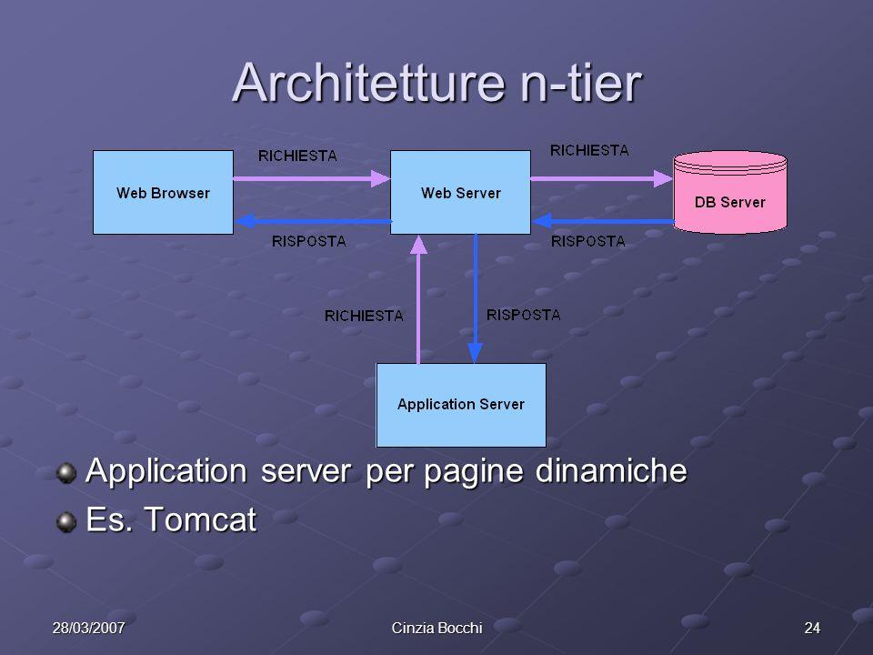 2428/03/2007Cinzia Bocchi Architetture n-tier Application server per pagine dinamiche Es. Tomcat