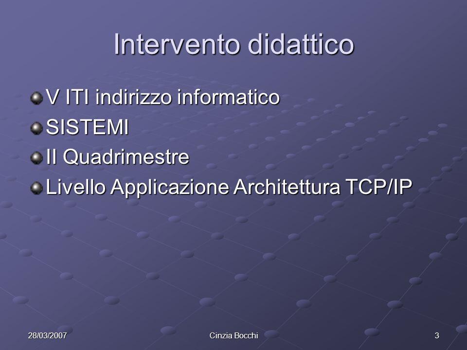 328/03/2007Cinzia Bocchi Intervento didattico V ITI indirizzo informatico SISTEMI II Quadrimestre Livello Applicazione Architettura TCP/IP