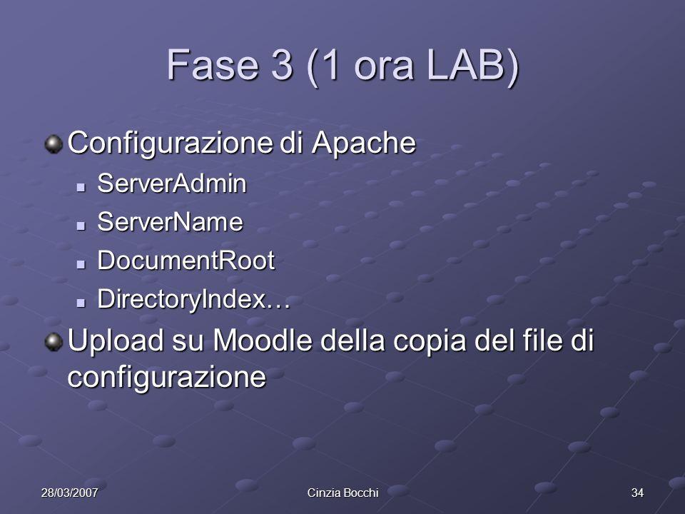 3428/03/2007Cinzia Bocchi Fase 3 (1 ora LAB) Configurazione di Apache ServerAdmin ServerAdmin ServerName ServerName DocumentRoot DocumentRoot DirectoryIndex… DirectoryIndex… Upload su Moodle della copia del file di configurazione