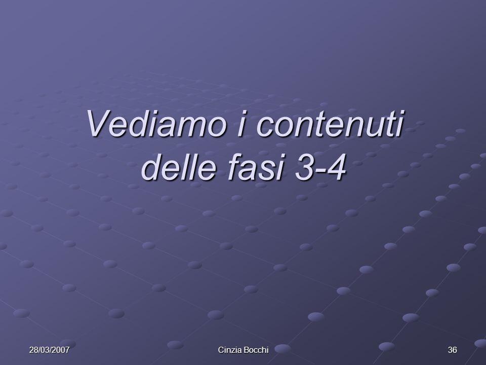 28/03/2007 Cinzia Bocchi 36 Vediamo i contenuti delle fasi 3-4