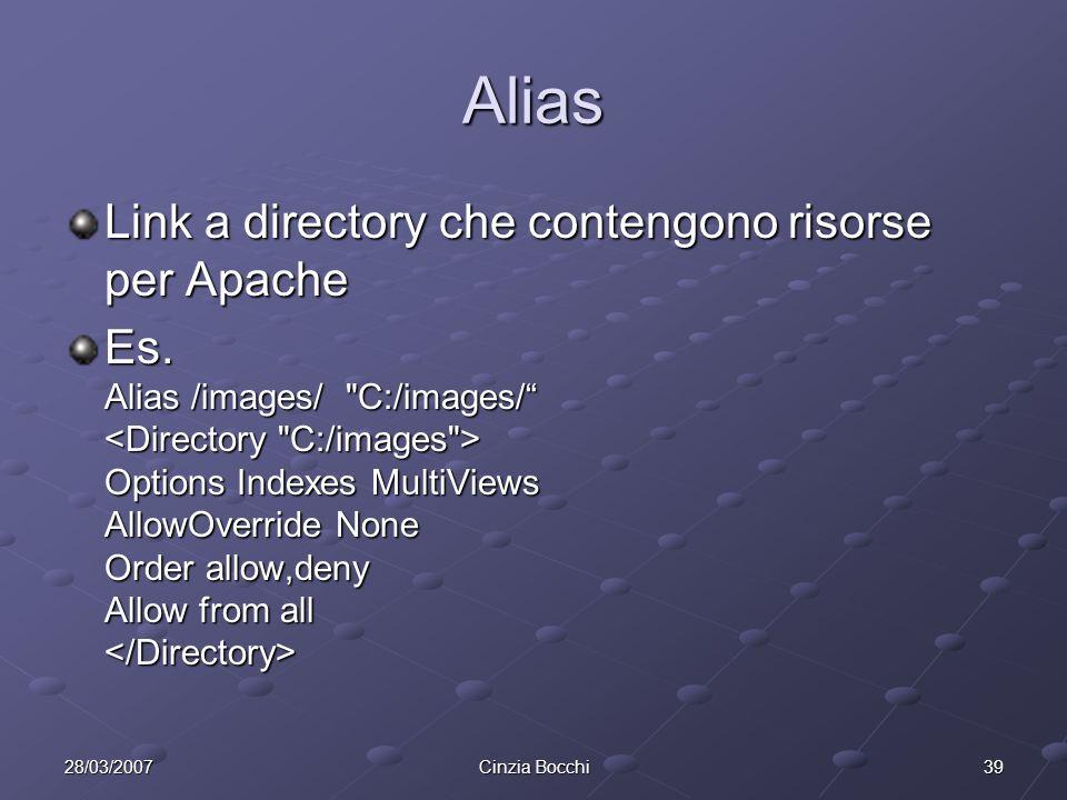 3928/03/2007Cinzia Bocchi Alias Link a directory che contengono risorse per Apache Es.