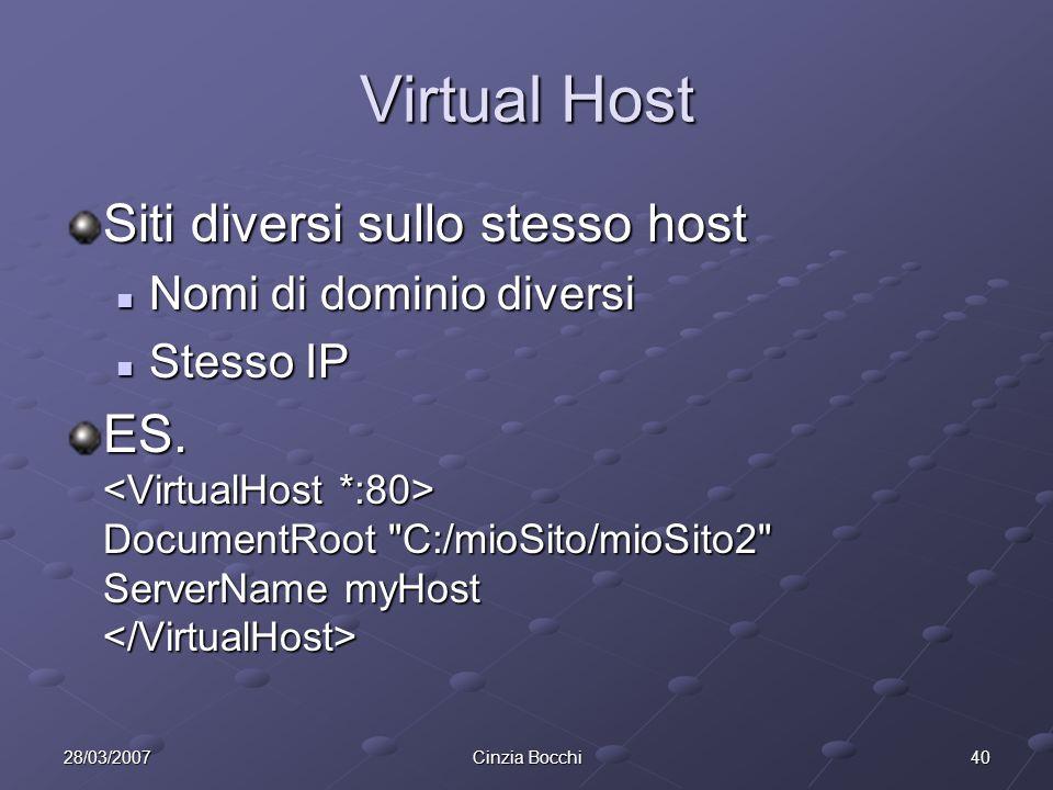 4028/03/2007Cinzia Bocchi Virtual Host Siti diversi sullo stesso host Nomi di dominio diversi Nomi di dominio diversi Stesso IP Stesso IP ES.