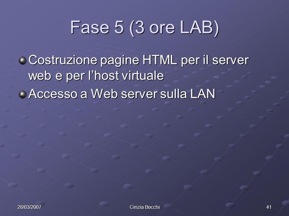 4128/03/2007Cinzia Bocchi Fase 5 (3 ore LAB) Costruzione pagine HTML per il server web e per lhost virtuale Accesso a Web server sulla LAN