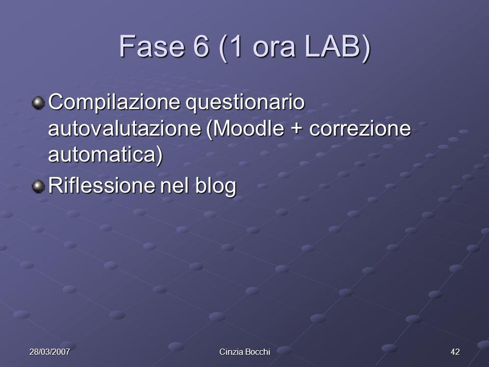 4228/03/2007Cinzia Bocchi Fase 6 (1 ora LAB) Compilazione questionario autovalutazione (Moodle + correzione automatica) Riflessione nel blog