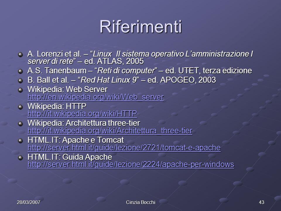 4328/03/2007Cinzia Bocchi Riferimenti A.Lorenzi et al.