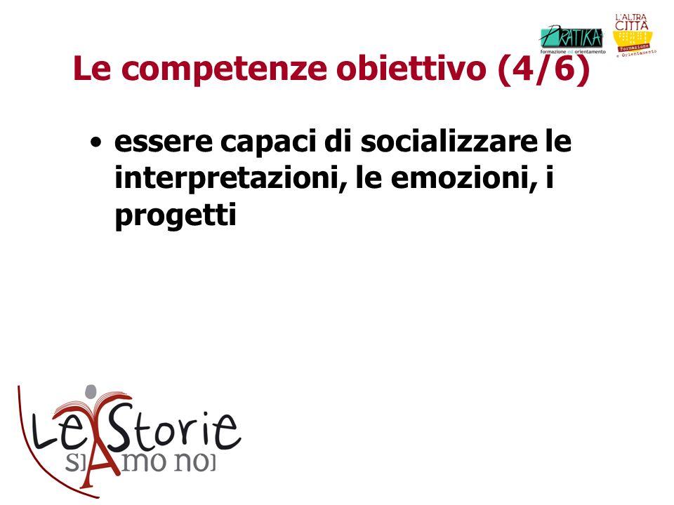 Le competenze obiettivo (4/6) essere capaci di socializzare le interpretazioni, le emozioni, i progetti