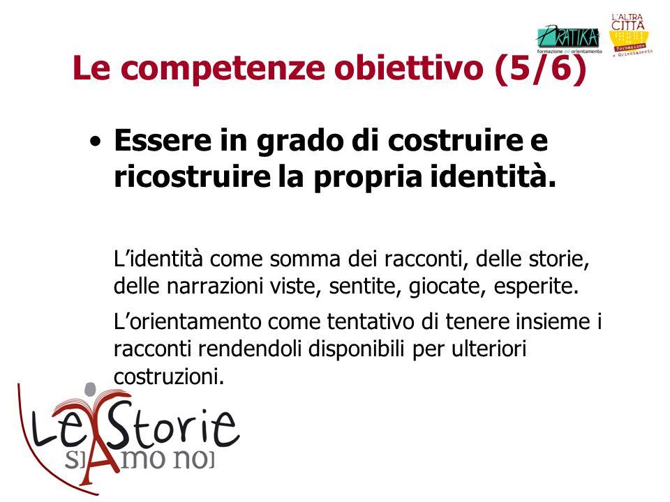 Le competenze obiettivo (5/6) Essere in grado di costruire e ricostruire la propria identità.