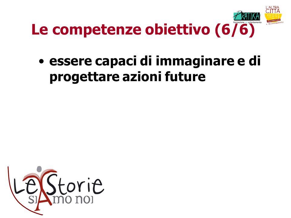 Le competenze obiettivo (6/6) essere capaci di immaginare e di progettare azioni future