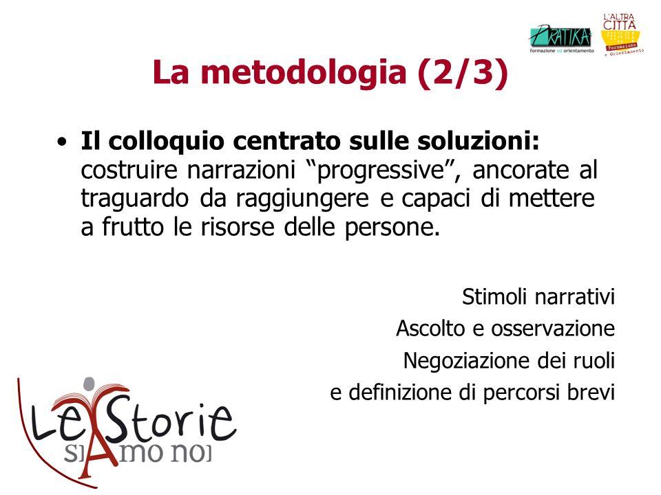 La metodologia (2/3) Il colloquio centrato sulle soluzioni: costruire narrazioni progressive, ancorate al traguardo da raggiungere e capaci di mettere a frutto le risorse delle persone.