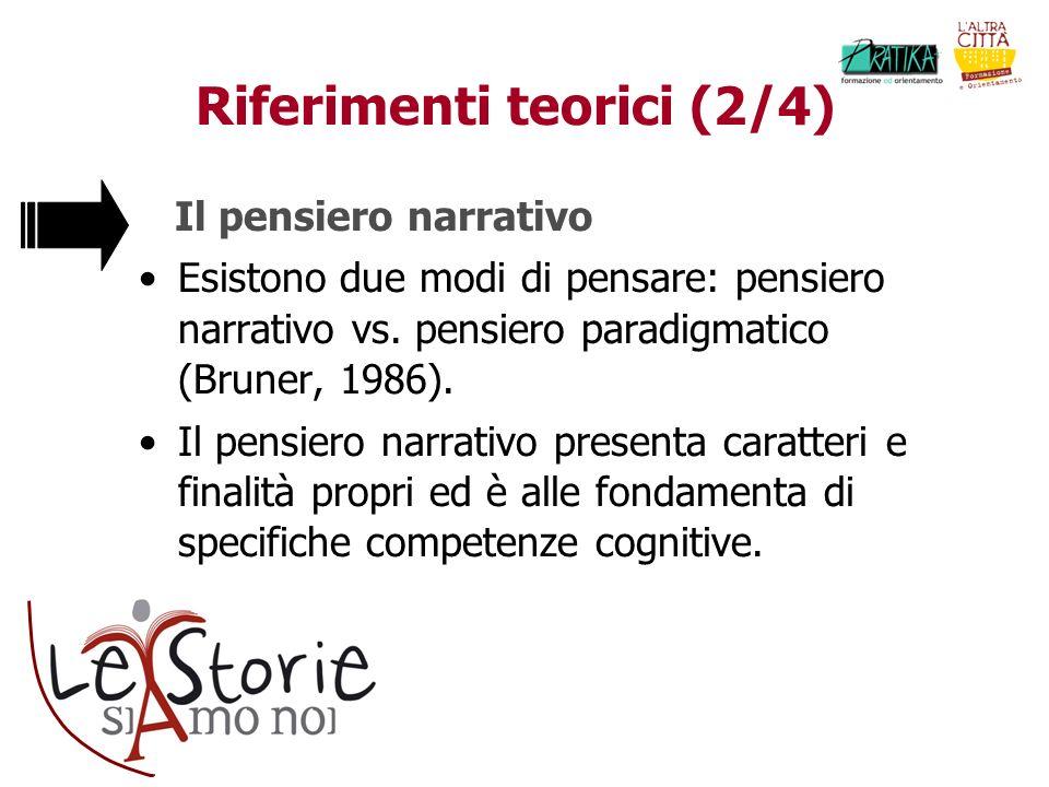 Riferimenti teorici (2/4) Il pensiero narrativo Esistono due modi di pensare: pensiero narrativo vs.