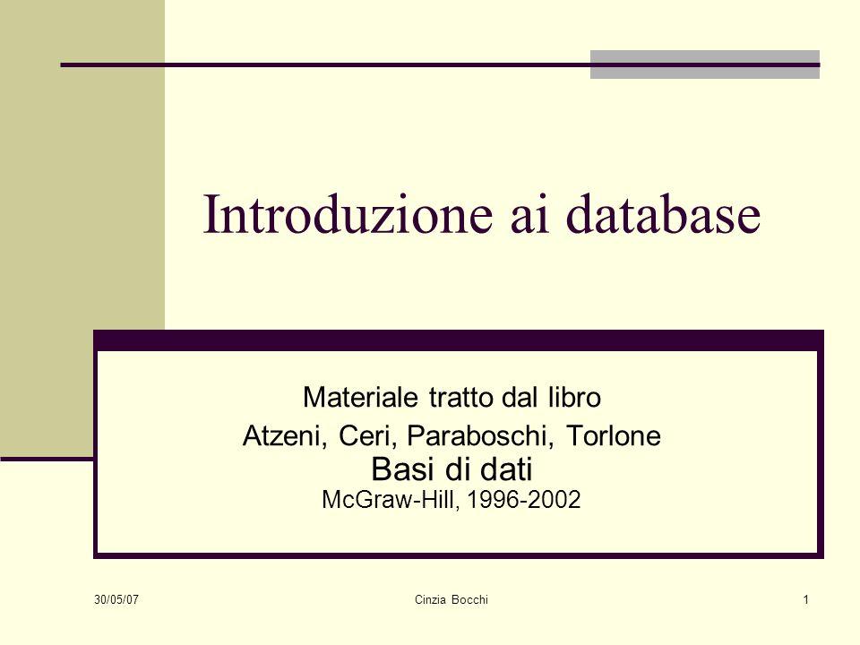 30/05/07 Cinzia Bocchi32 Modello dei dati Insieme di costrutti utilizzati per organizzare i dati di interesse e descriverne la dinamica Esempio: il modello relazionale prevede il costruttore relazione, che permette di definire insiemi di record omogenei