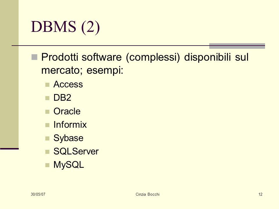 30/05/07 Cinzia Bocchi12 DBMS (2) Prodotti software (complessi) disponibili sul mercato; esempi: Access DB2 Oracle Informix Sybase SQLServer MySQL