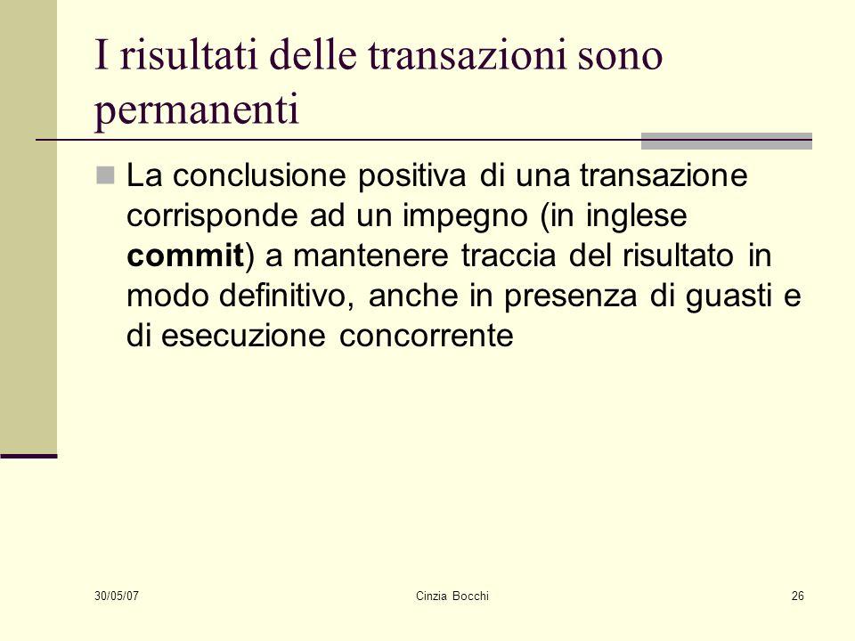 30/05/07 Cinzia Bocchi26 I risultati delle transazioni sono permanenti La conclusione positiva di una transazione corrisponde ad un impegno (in ingles