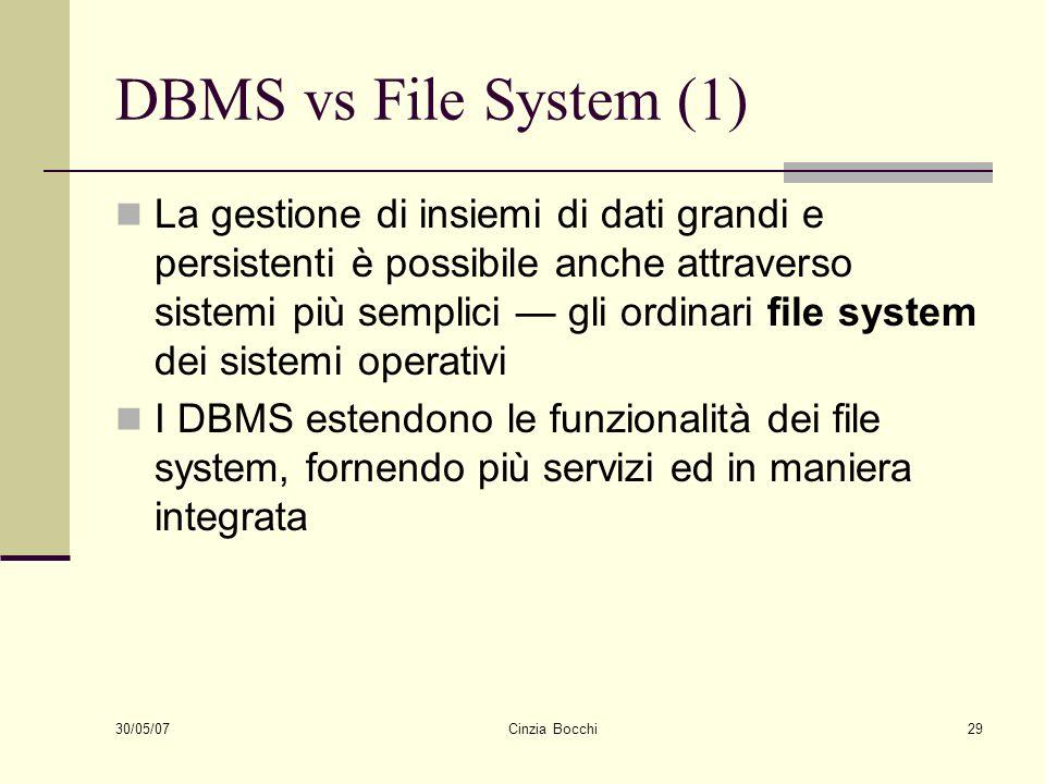 30/05/07 Cinzia Bocchi29 DBMS vs File System (1) La gestione di insiemi di dati grandi e persistenti è possibile anche attraverso sistemi più semplici