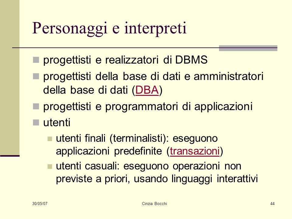 30/05/07 Cinzia Bocchi44 Personaggi e interpreti progettisti e realizzatori di DBMS progettisti della base di dati e amministratori della base di dati