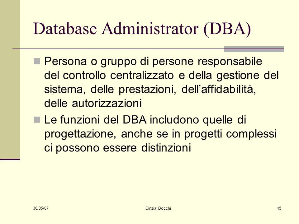 30/05/07 Cinzia Bocchi45 Database Administrator (DBA) Persona o gruppo di persone responsabile del controllo centralizzato e della gestione del sistem