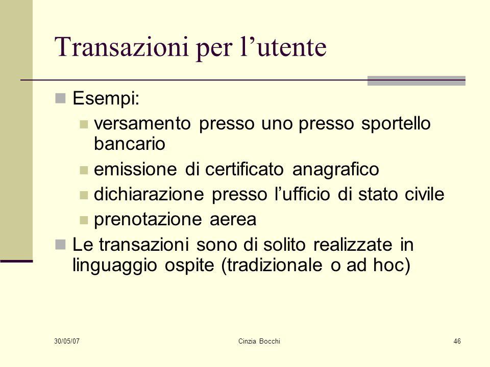30/05/07 Cinzia Bocchi46 Transazioni per lutente Esempi: versamento presso uno presso sportello bancario emissione di certificato anagrafico dichiaraz
