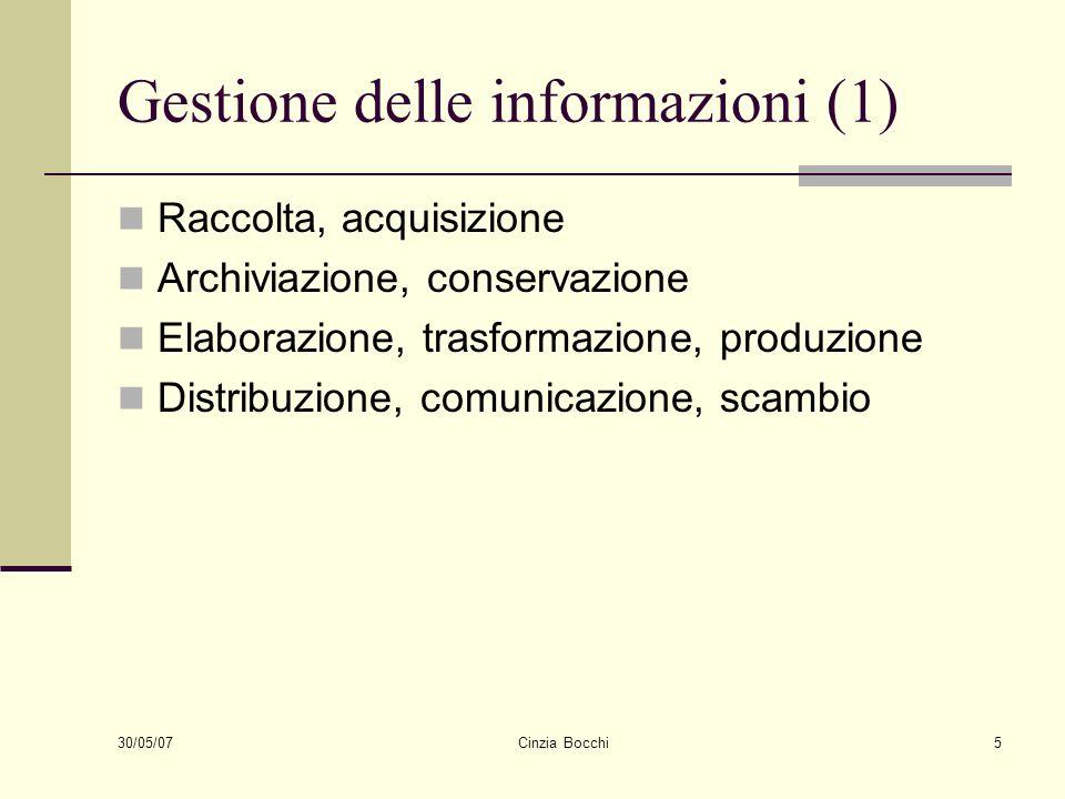 30/05/07 Cinzia Bocchi5 Gestione delle informazioni (1) Raccolta, acquisizione Archiviazione, conservazione Elaborazione, trasformazione, produzione D