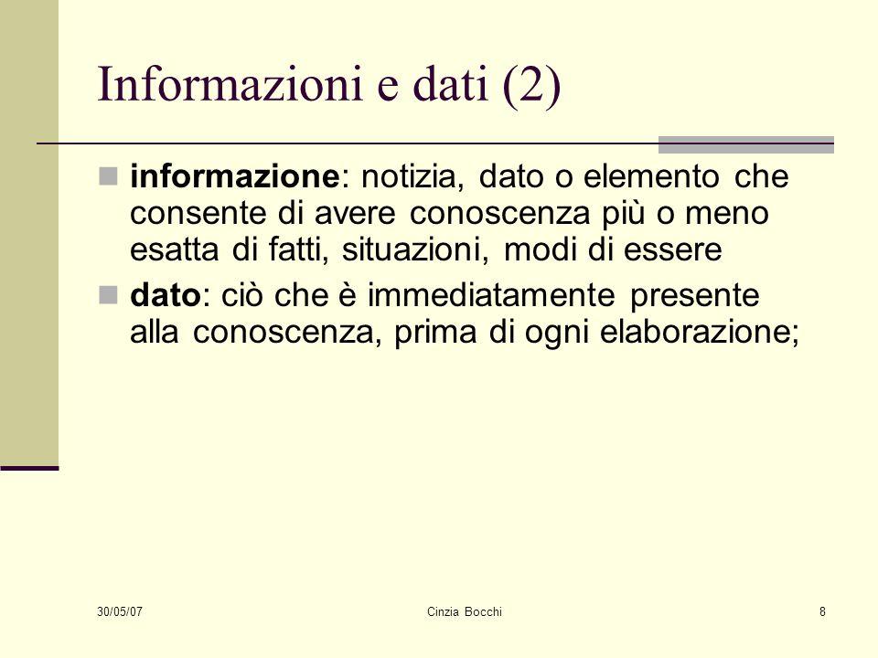 30/05/07 Cinzia Bocchi8 Informazioni e dati (2) informazione: notizia, dato o elemento che consente di avere conoscenza più o meno esatta di fatti, si