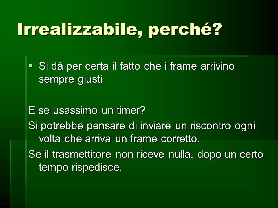 stop and wait trasmettitore while (true){ dal_livello_rete(pacchetto);frame.info=pacchetto;al_livello_fisico(frame);aspetta_evento(ack);}Ricevitore at