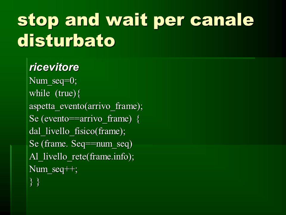 stop and wait per canale disturbato trasmettitoreNum_seq=0;dal_livello_rete(pacchetto); while (true){ frame.info=pacchetto;Frame.seq=Num_seq;al_livello_fisico(frame);Inizio_timer;aspetta_evento(ack); Se (evento==arrivo_ack) { dal_livello_rete(pacchetto);Pacchetto=frame.info; Al_livello_rete (pacchetto); }}