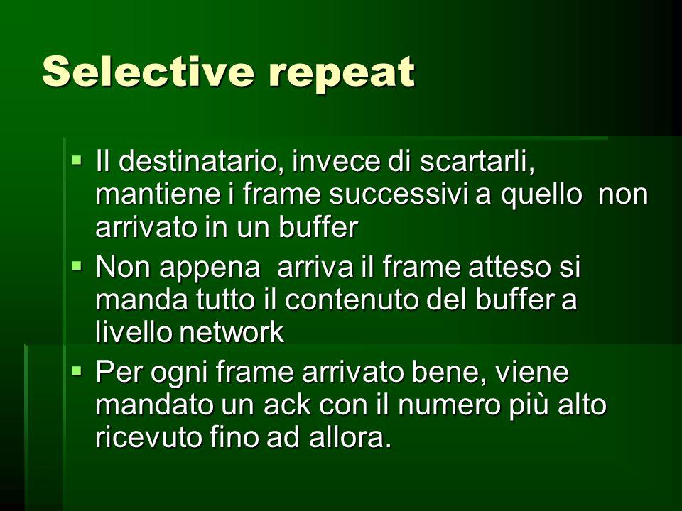 Go-back-n È in effetti un metodo a finestra 1 È in effetti un metodo a finestra 1 Usato per comunicazioni satellitari Usato per comunicazioni satellit