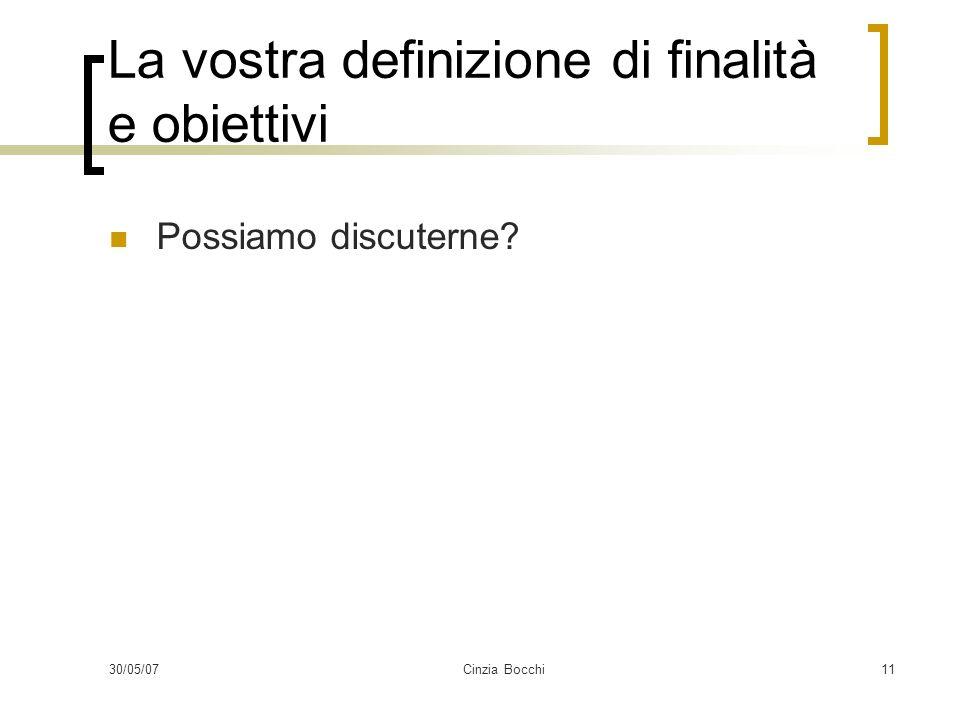 30/05/07Cinzia Bocchi11 La vostra definizione di finalità e obiettivi Possiamo discuterne?