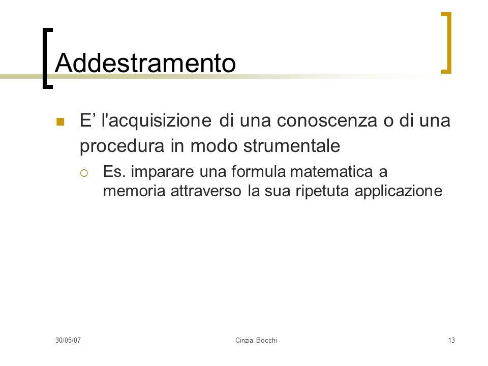 30/05/07Cinzia Bocchi13 Addestramento E l acquisizione di una conoscenza o di una procedura in modo strumentale Es.