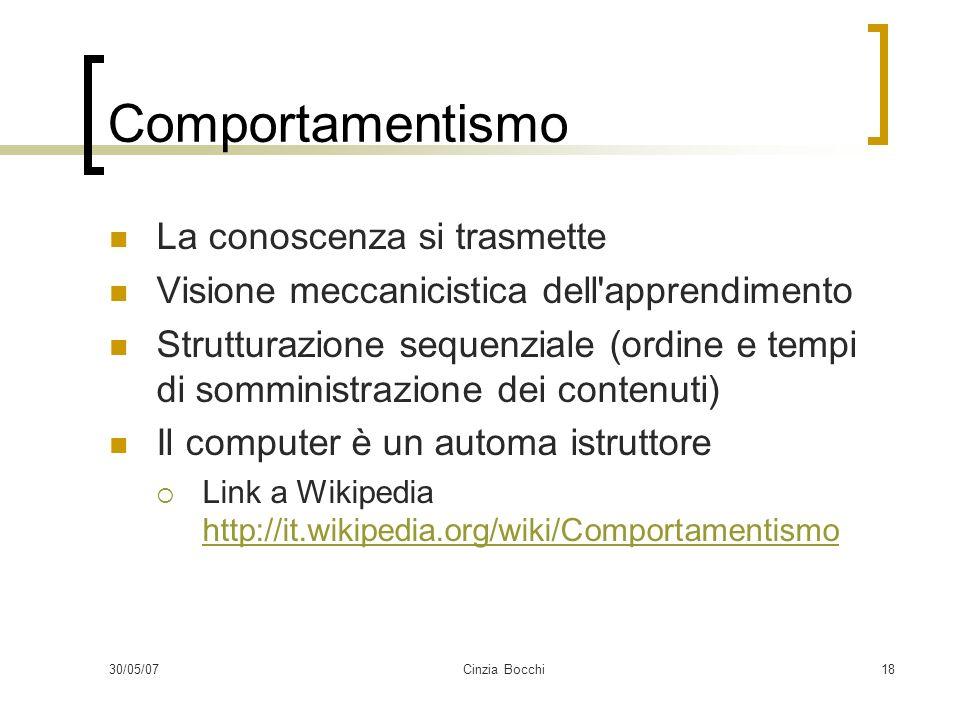 30/05/07Cinzia Bocchi18 Comportamentismo La conoscenza si trasmette Visione meccanicistica dell apprendimento Strutturazione sequenziale (ordine e tempi di somministrazione dei contenuti) Il computer è un automa istruttore Link a Wikipedia http://it.wikipedia.org/wiki/Comportamentismo http://it.wikipedia.org/wiki/Comportamentismo