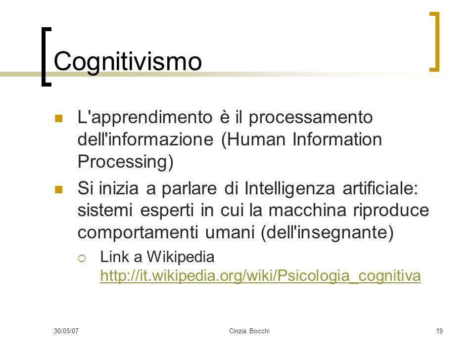 30/05/07Cinzia Bocchi19 Cognitivismo L apprendimento è il processamento dell informazione (Human Information Processing) Si inizia a parlare di Intelligenza artificiale: sistemi esperti in cui la macchina riproduce comportamenti umani (dell insegnante) Link a Wikipedia http://it.wikipedia.org/wiki/Psicologia_cognitiva http://it.wikipedia.org/wiki/Psicologia_cognitiva