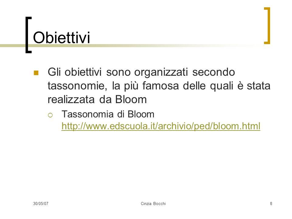 30/05/07Cinzia Bocchi8 Obiettivi Gli obiettivi sono organizzati secondo tassonomie, la più famosa delle quali è stata realizzata da Bloom Tassonomia di Bloom http://www.edscuola.it/archivio/ped/bloom.html http://www.edscuola.it/archivio/ped/bloom.html