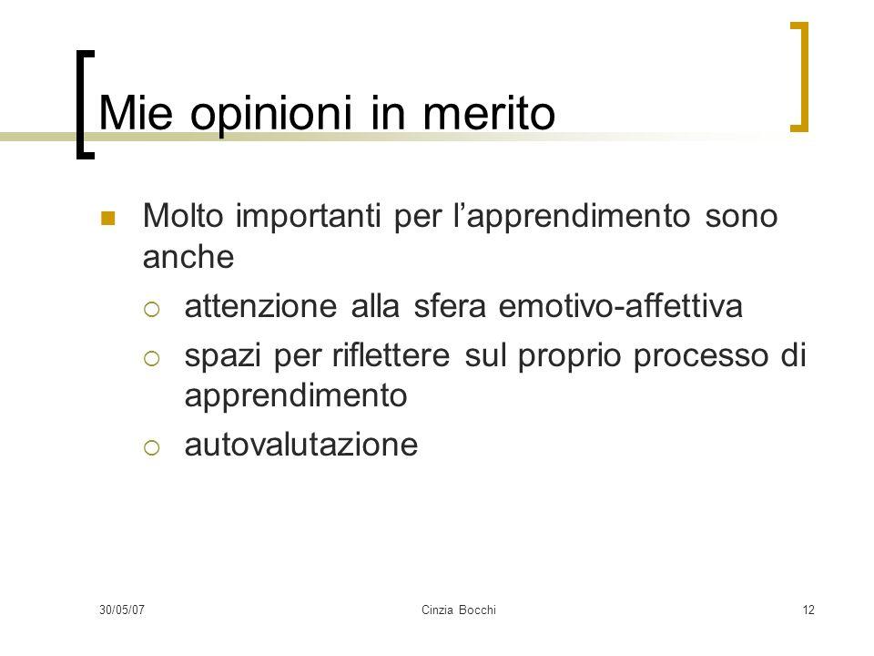 30/05/07Cinzia Bocchi12 Mie opinioni in merito Molto importanti per lapprendimento sono anche attenzione alla sfera emotivo-affettiva spazi per riflettere sul proprio processo di apprendimento autovalutazione