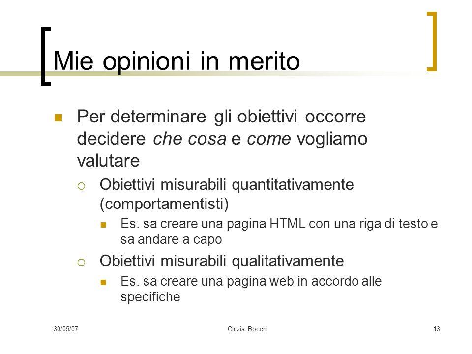 30/05/07Cinzia Bocchi13 Mie opinioni in merito Per determinare gli obiettivi occorre decidere che cosa e come vogliamo valutare Obiettivi misurabili quantitativamente (comportamentisti) Es.