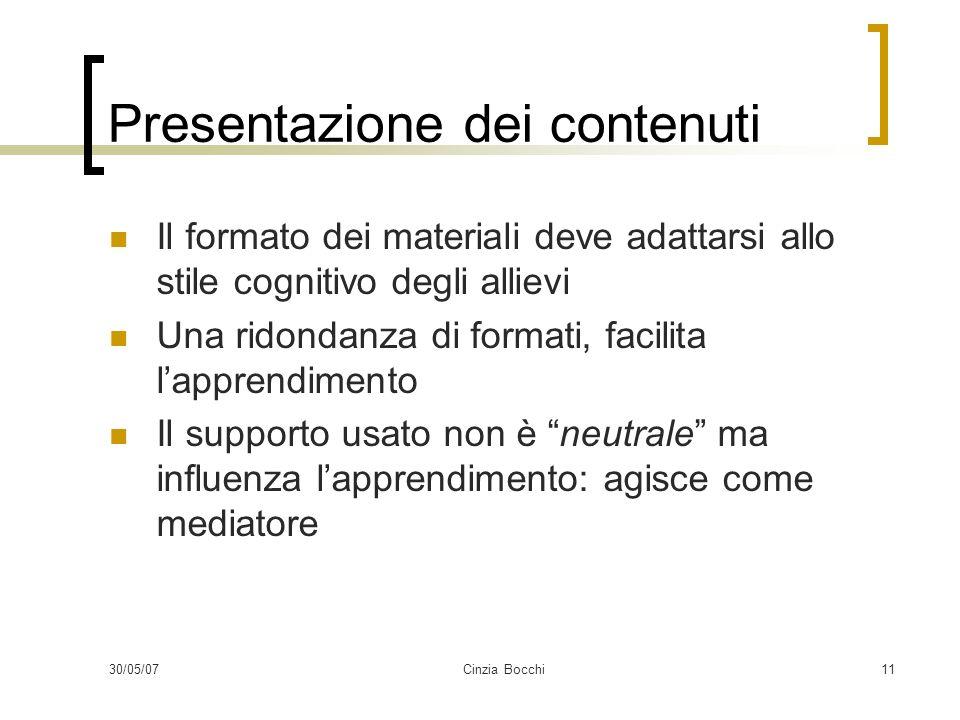 30/05/07Cinzia Bocchi11 Presentazione dei contenuti Il formato dei materiali deve adattarsi allo stile cognitivo degli allievi Una ridondanza di forma