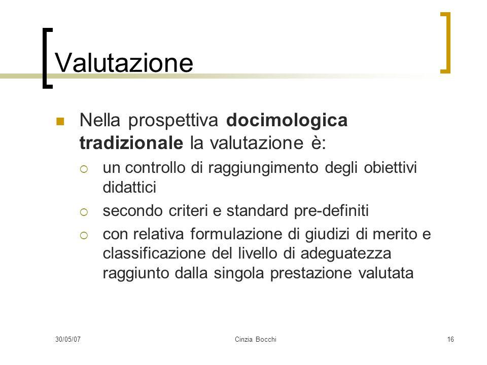 30/05/07Cinzia Bocchi16 Valutazione Nella prospettiva docimologica tradizionale la valutazione è: un controllo di raggiungimento degli obiettivi didat
