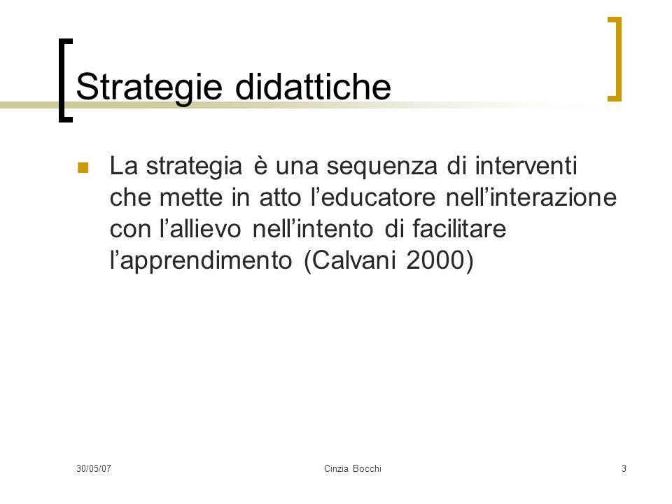 30/05/07Cinzia Bocchi3 Strategie didattiche La strategia è una sequenza di interventi che mette in atto leducatore nellinterazione con lallievo nellin