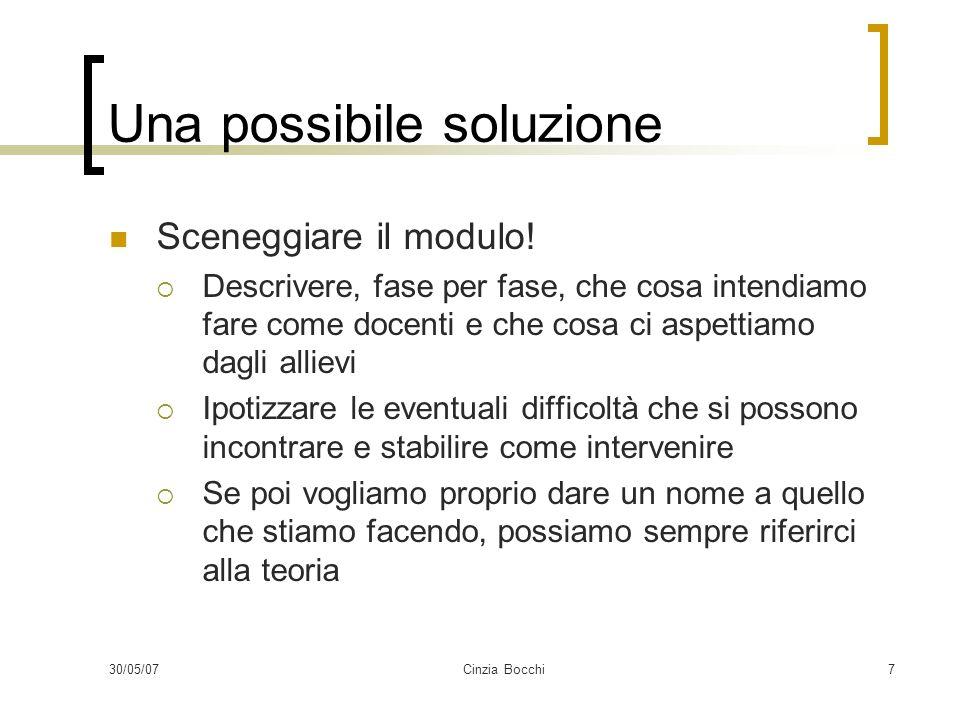 30/05/07Cinzia Bocchi7 Una possibile soluzione Sceneggiare il modulo! Descrivere, fase per fase, che cosa intendiamo fare come docenti e che cosa ci a